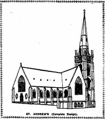 St Andrew's Anglican Church South Brisbane. Sketch showing Stombuco's original design, with tower and spire. (Love in a little black diary) Tags: brisbane anglicanchurch standrewsanglicanchurchsouthbrisbane southbrisbane historicbuilding heritagebuilding building queensland queenslandheritageregister