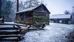 """Smokies Cantilevered Barn (Ron Harbin Photography) Tags: gsmnp landscape """"full frame"""" fx outdoor f28 24mm d750 nikon copyright black blue green tree lightroom diffused light shade natural depth field pictures winter 2018 grass escape fairytale wonderland forest """"natural light"""" photographer golden hour travel prime torrent rock boulder covered moss cabin barn shed loop road pioneers settlers cantilevered cove cades park national mountains smoky great"""