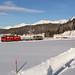 RhB Ge 4/4' 701 Raetia mit kurzer Güterlast kurz vor Davos Dorf