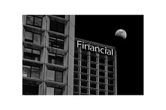 Financial Totality... (Mister Day) Tags: totality moon eclipse sign towers edmonton downtown night