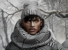 :) (iozi.wasp) Tags: letre doux cheerno equal10 tmd the mens dept male fashion sl secondlife second life virtual moda eyes hair sweater winter hat white