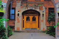In His Dream, He'd Finally Come Home (MPnormaleye) Tags: door entrance arch hall windows brick stone residence glass trees shrubs lantern keystone photomatix utata