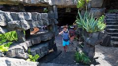 In the lava cave restaurant (piotr_szymanek) Tags: marzka woman milf portrait outdoor lanzarote lava cave flower face eyesoncamera shorts steps 1k 5k 20f 10k