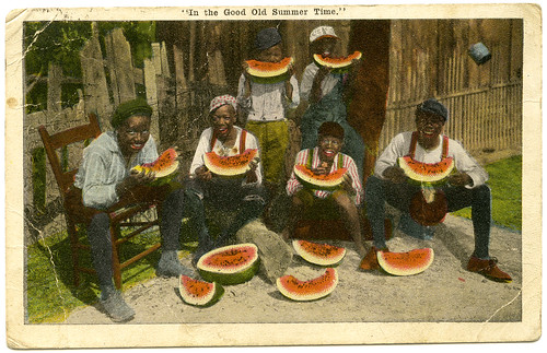 Postcard, young African American men eating watermelon, January 11, 1923 (Back)