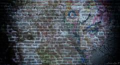 Three Faces (larisalyn (Rachel)) Tags: wall surreal face eyes graffitiartbricks