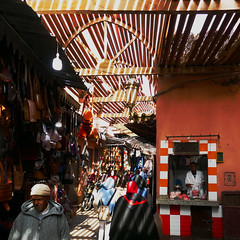 Light and strips (Le.Patou) Tags: morocco marrakech medina orange colorful fz1000 souk market people light shadow alley way pedestrian charioscuro lightdark