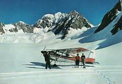 FOX SNOWFIELD, SOUTH WESTLAND New Zealand (Liz Pidgeon) Tags: postcard goodall snowfield skiplane snow mttasman