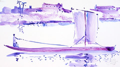 AFRICA TO THE NAKED 407 (eduard muntada) Tags: africa to the naked 407 watercolor river boat mountains purple sun kight simplicity blue africanpeopl