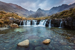 Sunset at the Fairy Pools #2, Glen Brittle, Isle of Skye, Scotland (Anthony Lawlor) Tags: fairy pool scotland isle skye water river waterfall magical swimming scottish highlands uk united kingdom wide angle sky sunset colour running allt coir a mhadaidh blue green swimmers landscape photography clouds slow shutter speed mountain mountains