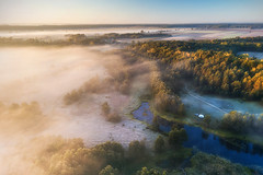First frost (xkolba) Tags: frost foggy mist scenery scenic sunrise morning trees autumn outdoor landscape podlasie bug river riverbank water wood forest road poland tree mavicpro drone aerial countryside droneshot dronephoto dji
