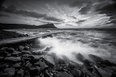 Crash. (Simon Rich Photography) Tags: kimmeridge bay dorset waves splash crash tide incoming coast jurassic coastline clouds movement longexposure ricks stones wet water sea simonrich simonrichphotography mrmonts canon blackandwhite monochrome