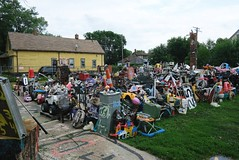 """USA Detroit Michigan east side Heidelberg Project with lots of junk-art - """"Get Off My Lawn?"""" (moreska) Tags: usa detroit michigan east side heidelberg project artwork junk signs toys spraypaint graffiti clock repurposed lawn vacant housing structures castoffs streetart neighborhoods wayne county motor city sightseeing travel tourism north america"""