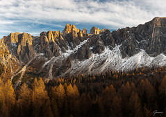 Golden Hour Dolomites (whitenoisephotography1) Tags: peaks snow capped dolomites itali veneto forest mountains sunset golden hour pine trees woods
