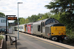 GOING LIKE THE CLAPPERS (Malvern Firebrand) Tags: 37884 passes pershore station worcestershire 15817 hauling emu long marston railways railroad trains outdoors vehicles transport platform speed 2017 class37 37xxx europhoenix rog rail operations group ecs rural local town