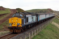 37425 and 37409 2Z38  'The Cumbrian Coast Class 37 Farewell Special' (Cumberland Patriot) Tags: arriva northern trains drs direct rail services kd kingmoor depot carlisle cumbria br british railways ee english electric type three type3 12csvt diesel engine class 37 374 37409 37270 6970 d6970 loch awe lord hinton 37425 37292 6992 d6992 sir robert mcalpine concrete bob locomotive nethertown cumbrian coast railway line loco hauled passenger train 2c38 9710 mk2 mark two 2 ii dbso driving brake second open coach carriage 5995 6117 6046 railroad track farewell special