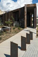 Steel Entrance (syf22) Tags: paphos paphosdistrict mouttalos cyprus mouttalosdistrict steel construction art artwork artistry modern modernarchitecture design vertical upright cutting