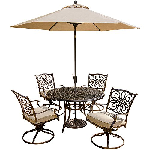 Cheap Hanover Outdoor Furniture 5 Piece Traditions Deep Cushioned Swivel Chair Dining Set with Umbrella