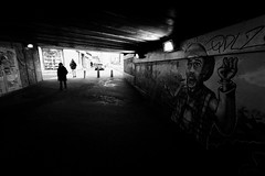 Aaah ! Do you see what is coming toward us ?? (N.Hell) Tags: tag graffiti street photography stranger people wall contrast darkness tunnel scene city town canon wide angle light france grenoble