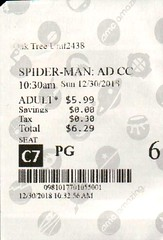 Spider-Man: Into the Spider-Verse 12.30.2018 (shaunline) Tags: ticket movie oaktree seattle