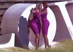 Snapshot_matching _Girls (jeffresident) Tags: cristy sophie jeff jeffferie maitreya laq mesh beauty outdoor match babygirls ass butt shadow light pantyhose heels purple