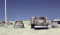 The Plural of Chevy (unknown quantity) Tags: rust sky oldcar pickuptruck shadows grass utilitypoles wires junk horizon neglect silos abandoned barewood fadedpaint oxidation weathered hss