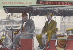 """US Sandusky OH c.1910 EARLY MOTORIZED COACH THE P. SWESSINGGER SIGHT SEEING CAR touring scenic Sandusky and the Resort Era Properties and Steamer Excursion Docks on Lake Erie1 (UpNorth Memories - Donald (Don) Harrison) Tags: vintage antique postcard rppc """"don harrison"""" """"upnorth memories"""" upnorth memories upnorthmemories michigan history heritage travel tourism restaurants cafes motels hotels """"tourist stops"""" """"travel trailer parks"""" cottages cabins """"roadside"""" """"natural wonders"""" attractions usa puremichigan """" """"car ferry"""" railroad ferry excursion boats ships bridge logging lumber michpics uscg uslss"""