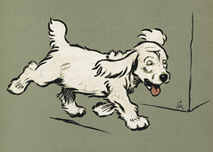 The White Puppy Book by Cecil Aldin (1910), a white dog 'Rags' running emotionally distressed. Digitally enhanced from our own original plate. (Free Public Domain Illustrations by rawpixel) Tags: otherkeywords adorable afraid aldin alert animal animated antique anxiety art barking book cecil cecilaldin chromolithograph cute distressed dog domesticated drawings emotional energetic energy frightened historic historical history illustrated illustration lithograph nature old out outside pet plate print puppy retro running scared sketch street thewhitepuppybook tongue vintage white worried zoology