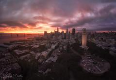 Flying sunrise (wandering indian) Tags: drone djimavicair kedardatta landscape cityscape citylights sanfrancisco sf california skyline longexposure lights sunrise cloudsstormssunsetssunrises clouds panorama