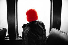 Boy on Train (JCTopping) Tags: passenger 19mm window carriage train dark fog canon 6d orange boy scranton pennsylvania unitedstates us