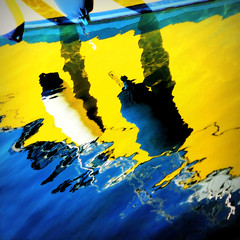blue and yellow...in contrast (claredlgm1) Tags: reflections blue yellow contrast mirror abstract minimal detail water sea buffer white lines ripples waves