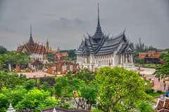 Replica of Sanphet Prasat palace from Ayutthaya (left) and Replica of Dusit Maha Prasat Palace (right) in Muang Boran (Ancient City) open air museum in Samut Phrakan near Bangkok, Thailand (UweBKK (α 77 on )) Tags: dusit maha prasat palace sanphet replica building architecture historical ancient siam city muang mueang boran open air museum park samut phrakan province bangkok thailand southeast asia sony alpha 77 slt dslr