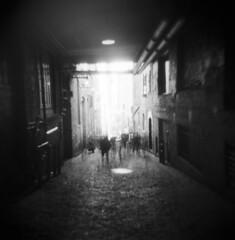 The gum wall congregation (Zeb Andrews) Tags: ilfordsfx holga seattle gumwall washington urban city alley film mediumformat 6x6 zaahphoto blackwhite monochrome pacificnorthwest scannedatbluemooncamera nikoncoolscan9000