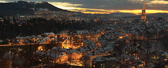 Bern like a nativity scene (gioberner) Tags: panorama bern nativity christmas snow long exposure sunset old town church cathedral munster light city lights switzerland cities landscape photography winterbeauty
