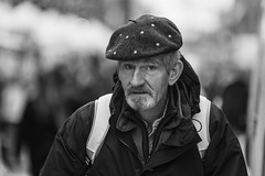 Star man (Frank Fullard) Tags: frankfullard fullard candid street portrait star man cap beret dublin irish ireland monochrome black white beard blanc noir celestial sky planet