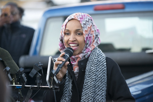 Ilhan Omar speaking at worker protest against Amazon, From FlickrPhotos