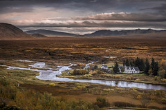 Magic river (Sizun Eye) Tags: þingvellir öxara river valley nationalpark iceland landscape houses chapel tourists travel visit sizuneye nikond750 tamron2470mmf28 tamron