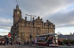 Balmoral Hotel, Edinburgh (Rourkeor) Tags: 35mm 35mmzeisssonnartlens balmoralhotel carlzeiss edinburgh lothian princesstreet rx1r scotland sony uk buses city clockface fullframe hotel pedestrians people saltireflag street traffic