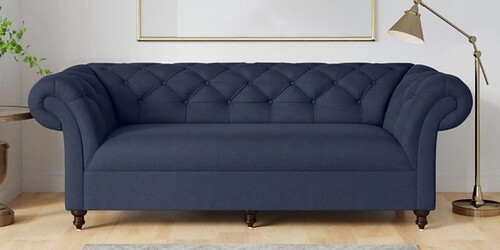 Areia Three Seater Sofa in Navy Blue Colour by CasaCraft
