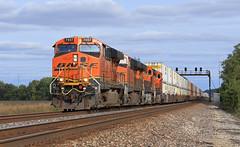Hot Z (GLC 392) Tags: bnsf floyd orrick mo missouri railroad railway train signal bridge z hot shot stacks 7457 8158 ge es44ac es44dc es44c4 7910 6614 clouds sun tree trees rail