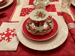 Red and White Christmas (jchants) Tags: china cup saucer napkin plates red white christmastea