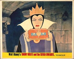 "The Evil Queen in Walt Disney's ""Snow White and the Seven Dwarfs.""  Lobby Card for the 1950's Re-release (lhboudreau) Tags: 1950 art artwork illustration drawing waltdisney disney snowwhiteandthesevendwarfs motionpicture movie animatedfilm featurefilm animatedfeature cartoon text castle disneyproduction waltdisneyproductions animation disneyanimation queen evilqueen lobbycard poster rerelease femmefatale wickedqueen wicked evil"