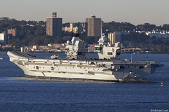 HMS Queen Elizabeth, RO8, IMO 4907892; New York Harbour, USA (Michael Leek Photography) Tags: warship nato navalvessel natowarships newyork nyc usa unitedstatesofamerica britainsarmedforces britainsnavy britishaerospace aircraftcarrier helipcopter merlinhelicopter rn royalnavy portsmouth anchored r08 hmsqueenelizabeth hmsqueenelizabethr08 michaelleek michaelleekphotography