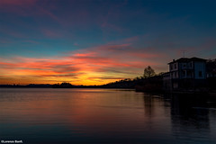Tramonto a Pusiano (Co) (Lorenzo Banfi) Tags: cielo acqua tramonto pusiano lago como lombardia brianza sole nuvole rosa arancio erba casa riflesso hdr nikon d5 professional photomerge sunset italia sfumature