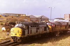 EWS TRANSRAIL LIVERIED 37250 (bobbyblack51) Tags: british railways ews transrail liveried class 370 english electric coco diesel locomotive 37250 falkland yard ayr 1997