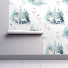Winter Wonderland - Watercolor Hand drawn Animals in Forest Wallpaper (Uta Naumann) Tags: deer winter forest nature snow animal wildlife illustration white christmas xmas landscape wild reindeer wood snowy merry holiday seasonal woods cute design happy drawing cartoon character friendly fun branch berry utarthome textiledesign pattern patternobserver patterns home shoponline shop trend surfacepattern surfacedesign interiordesigners designers sewcialists spoonflower animals woodland holidays