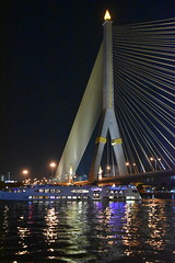 Rama VIII Bridge, Bangkok, Thailand (Manoo Mistry) Tags: bangkok thailand nikon nikond5500 tamron tamron18270mmzoomlens ramaviiibridge bridge ramaviiisuspensionbridge suspensionbridge chaoprayariver river nightscene