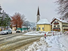 Winter impressions from Kiefersfelden, Bavaria, Germany (UweBKK (α 77 on )) Tags: winter snow ice road street chapel kapelle impressionen impressions tree kiefersfelden bavaria bayern germany deutschland europe europa iphone