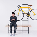 Bench and bicycle hangerの写真