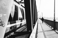 06/30 2018/02 (halagabor) Tags: bnw blackandwhite monochrome bridge train street streetphoto streetphotography urban city citylife budapest walk walking walker geometry lines nikon nikkor d610 manualfocus vintagelens