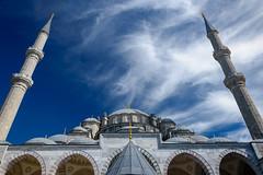Fatih Mosque (djcotto1971) Tags: istanbul turkey bosphor europe asia mosque religion religious islam muslim constantinople carigrad minaret blue sky clouds dome nikon nikkor d5500 arches camii mehmedtheconqueror ottoman sultan aliqushji byzantine church atik sinan medrese